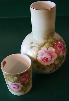 Vintage Lefton Green Heritage W/Pink Roses Bedside Carafe Tumble Up Water Set