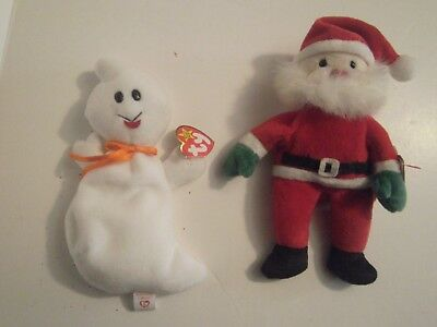 TY Beanie Babies Plush Santa Claus 1998& 1996 Spooky both with tags