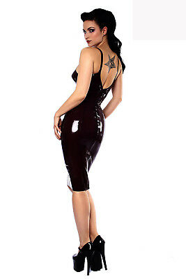 dfa87bb1b6 Womens Gothic Black Spaghetti Strap Wet Look Latex PVC Bodycon Dress  Clubwear