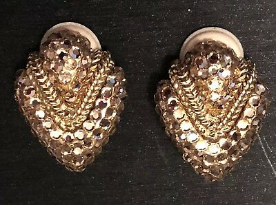 Vintage Retro Art Deco Gold Tone Metal Crystals Clip On Earring