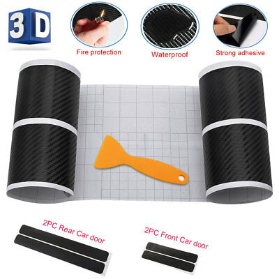 "4PCS 3D Car Carbon Fiber Sticker Door Sill Graphic Decal 40/60x7cm(16""/24""x3"")"