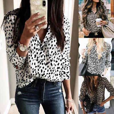 2019 Spring UK Womens Blouse Chiffon Ladies Cardigans Basic Shirt Leopard Tops