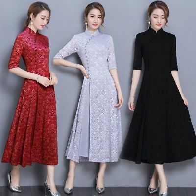 Red Mandarin Lady Chinese Lace Floral Collar Ethnic Half Sleeve Long Dress Qipao