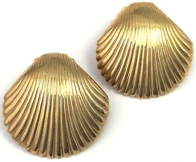 Vintage Shell Earrings Gold Tone Metal Clip Back Style Gold Tone Metal Jewelry