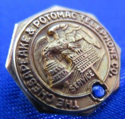 10K Gold Chesapeake & Potomac Telephone Co. Service Pin AT&T Bell System