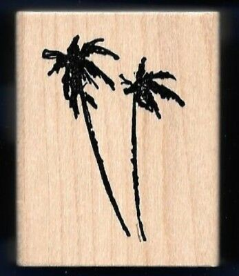 PALM TREES Silhouette NATURE Landscape ART IMPRESSIONS E-2713 wood RUBBER STAMP