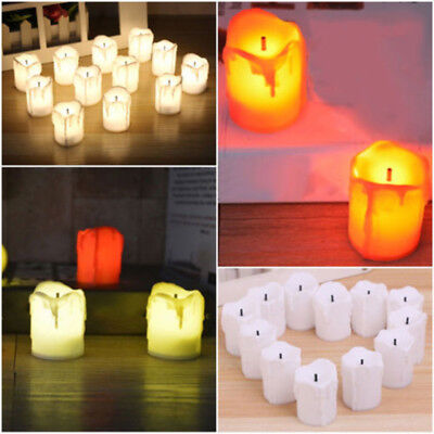 12X Flameless Rechargeable LED Tea Light Flickering Amber Tealights Candles