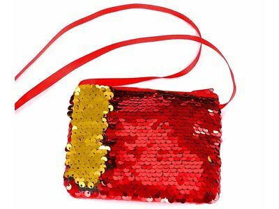 Mini Reversible Sequin Shoulder Bag - Red and Gold