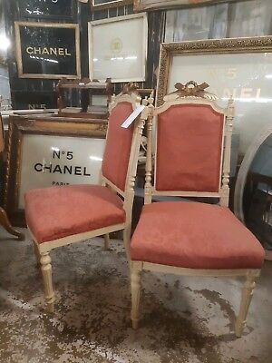 Pair of French Cream and Gilt painted Louis Style Chairs - 19th Century