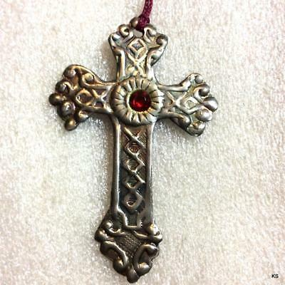 Vintage Ornate Silver Tone Cross with Red Center Stone  Xmas Ornament Repousse