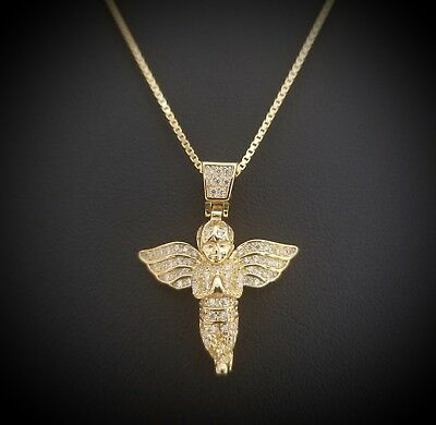 14k Yellow Gold Over Sterling Silver Round Diamond Angel Pendant Necklace