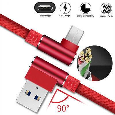 1M/2M Micro USB Data Snyc FAST Charger Charging Cable 90 Degree For Universal