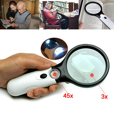 45x Handheld Magnifier Reading Magnifying Glass Jewelrys Loupe With 3 LEDS Light