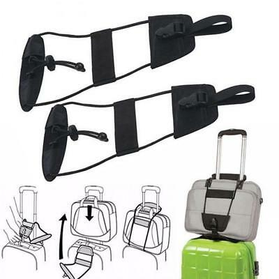 Add A Bag Strap Travel Luggage Suitcase Adjustable Belt Carry On Bungee Easy 2pc
