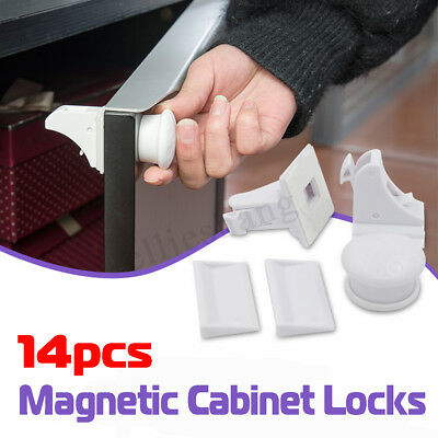 14PCS Set Magnetic Cabinet Drawer Cupboard Wardrobe Baby Kids Safety Child  Lock