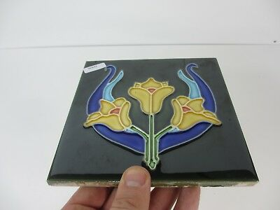Ceramic Tile Vintage Floral Flower Art Nouveau Flowers Floral Old RETRO / REPRO