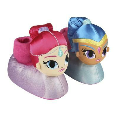 Girls New Shimmer And Shine Touch Fastening Slippers Pink Shoes Size 8-13