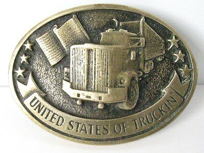 """Vintage Solid Brass Belt Buckle by Dodson """"United States Trucking"""" Gold Tone"""