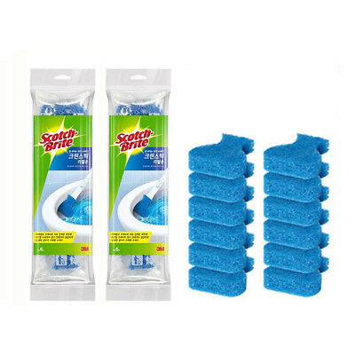 3M Scotch Brite Disposable Toilet Bowl Cleaner Scrubber Brushes 12 Refills
