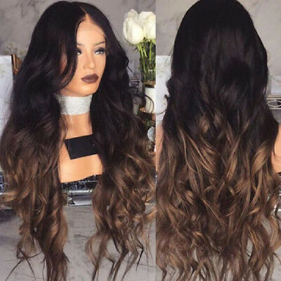 Full Wig Long Curly Straight Synthetic Hair With Blonde Wigs For Women Ladies CL
