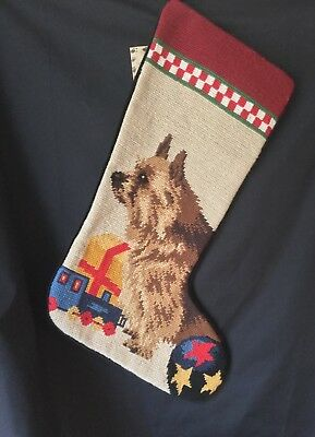 Norwich Terrier  needlepoint stocking- not a kit
