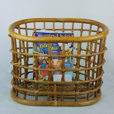 Vintage Rattan Bamboo Wicker Large Wooden Magazine Holder Rack Basket Bentwood