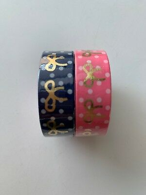 Simply Gilded Pink And Navy Polka Dots Bows Washi Set