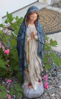 Mary Garden Statue 18 inch Outdoor Our Lady of Lourdes Vintage Crackle Finish