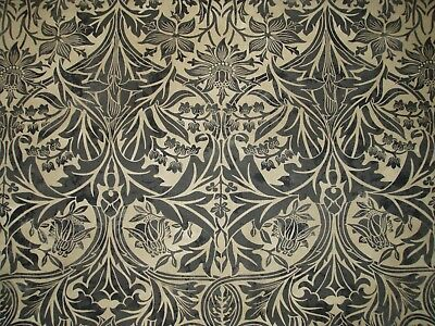 "WILLIAM MORRIS CURTAIN FABRIC ""Bluebell"" 2.9 METRES X1.15 METRES BLACK & MANILLA"