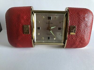 Vintage Europa 7 Jewels Travel Alarm Clock Red In Box German Made Working Retro