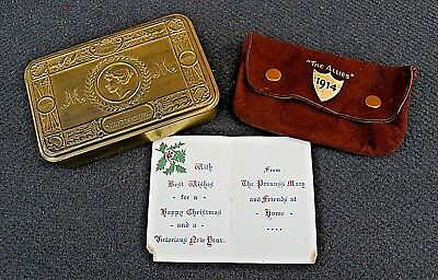 """WW1 Princess Mary Tin & Contents Extremely Rare Tobacco Pouch """"The Allies"""" 1914"""