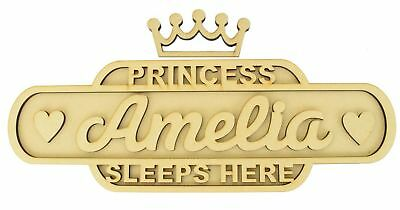 Personalised 'Princess Sleeps Here' Medium Size Wooden MDF Train Sign Wall Art