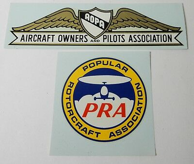 2 Vintage Unused Aopa Aircraft Owners & Pilots Pra Rotocraft Airplane Decals