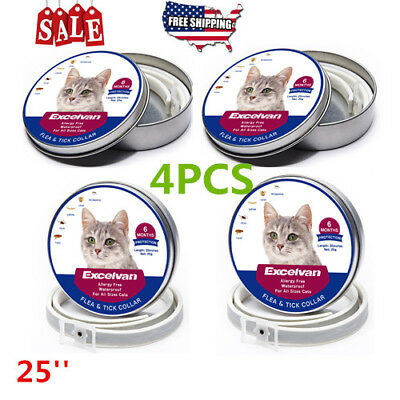 """4X Waterproof Pets Cat Anti Flea And Tick 6-8 Month Protection Cats 25"""" Collar"""