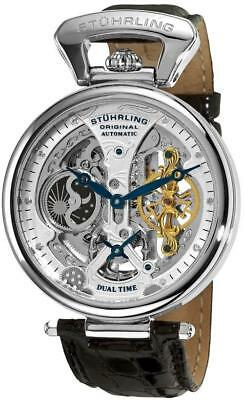 Stuhrling 127A2 Special Diamond Emperor Automatic Dual Time Moon Dial Mens Watch