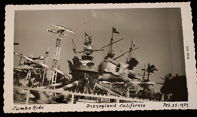 Disneyland Feb 1959 Orig b/w Photo Dumbo the Flying Elephant early Fantasyland