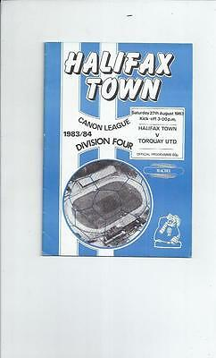 Halifax Town v Torquay United Football Programme 1983/84