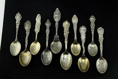 Lot of 10 Antique Sterling Silver Spoon Spoons Collection - Heavy Well Made