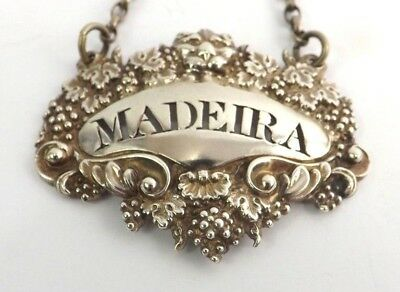 MADEIRA Lion Head Wine Decanter Label Sterling Silver Reiley Storer London 1829
