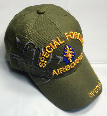 0563b5f0b2b US Army SPECIAL FORCES AIRBORNE Ball Cap Green Beret Ranger Shoulder Tab Hat  OD
