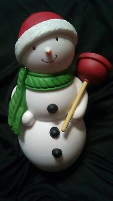 """Hallmark Jolly In The John Talking Snowman 8"""" WORKS Motion activated w/ plunger"""