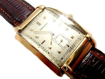 Vintage Estate Tiffany & Co. Movado 14k Yellow Gold Fancy Lug Manual Wind Watch