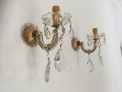 Stunning Pair Original 1950's Vintage Glass Marie Therese  Crystal Wall Lights