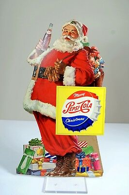 Vintage Pepsi-Cola Santa Claus Merry Christmas Stand Up Cardboard Display Sign