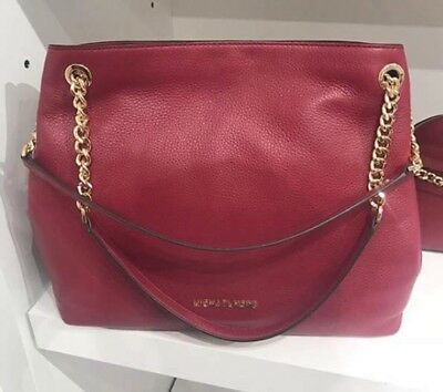 bf9e3169c522 NEW MICHAEL KORS Saige Mulberry Leather Reversible Shoulder Tote Bag ...