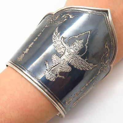 """925 Sterling Silver Vintage Extra Wide Niello Hindu Theme Cuff Bracelet 6 3/4"""""""
