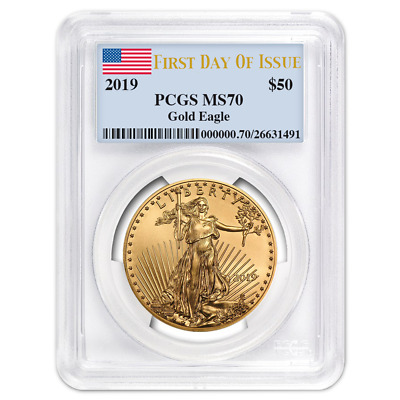 2019 $50 American Gold Eagle 1 oz. PCGS MS70 FDOI Flag Label