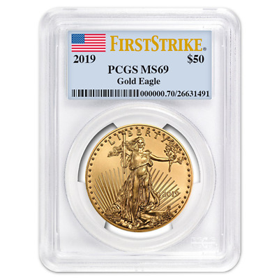 2019 $50 American Gold Eagle 1 oz. PCGS MS69 First Strike Flag Label