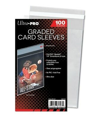 (100) Ultra Pro Graded Card Sleeves Resealable Lip Bags Fit PSA Beckett BGS Slab
