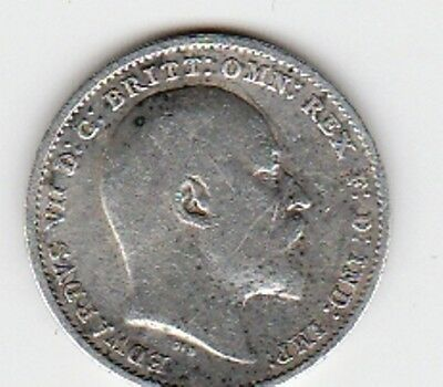 1901 SILVER THREEPENCE COIN from GREAT BRITAIN in F